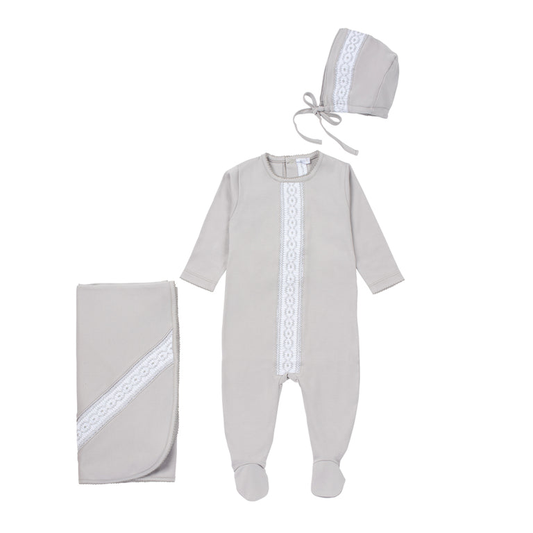 New Grey Cotton Pleated Design Footie