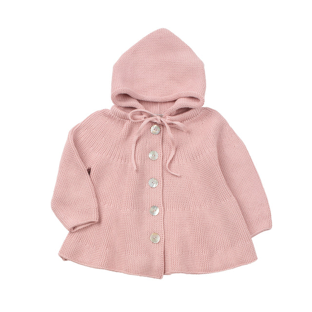 Antique Pink hooded Knit Jacket