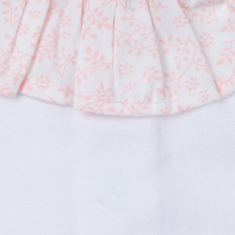Light Pink Floral Ruffle Collar Cotton Footie