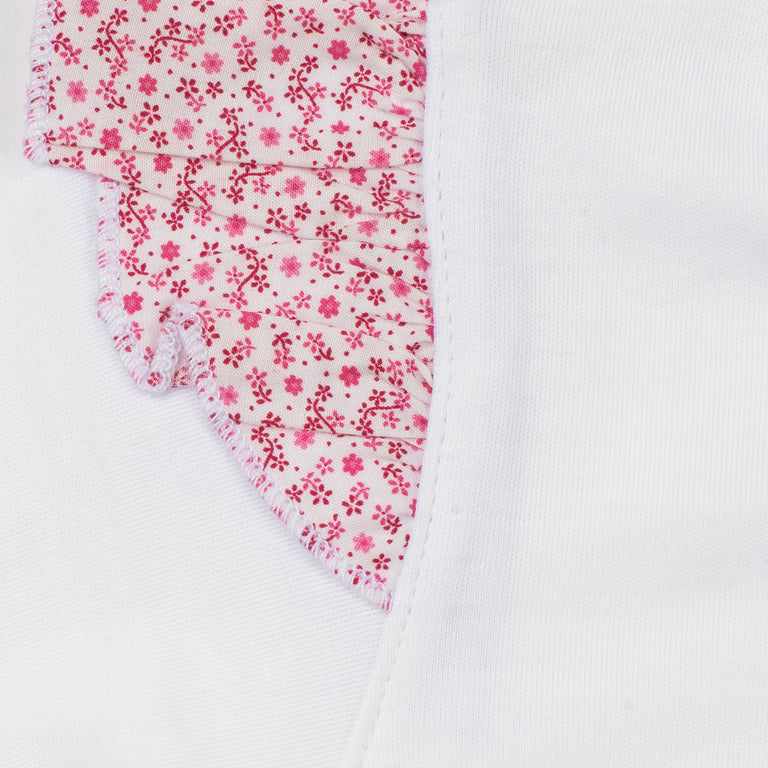 White Floral Capped Sleeve Cotton Footie