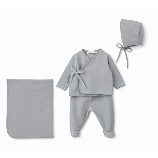 Grey Cotton Side Tie 4 Piece Layette Set