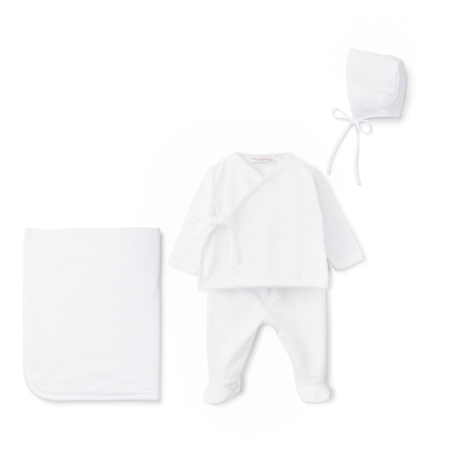 White Cotton Side Tie 4 Piece Layette Set