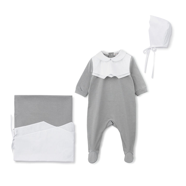 Grey Scalloped Cotton 3 Piece Layette Set