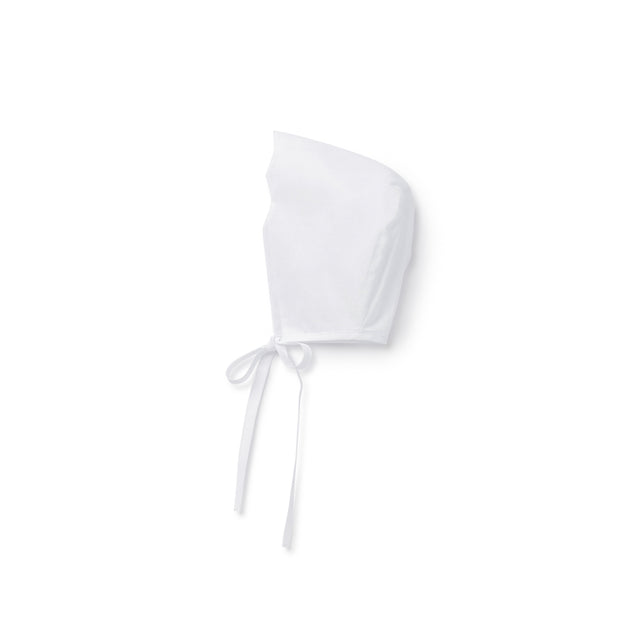 White Scalloped Trim Cotton Bonnet