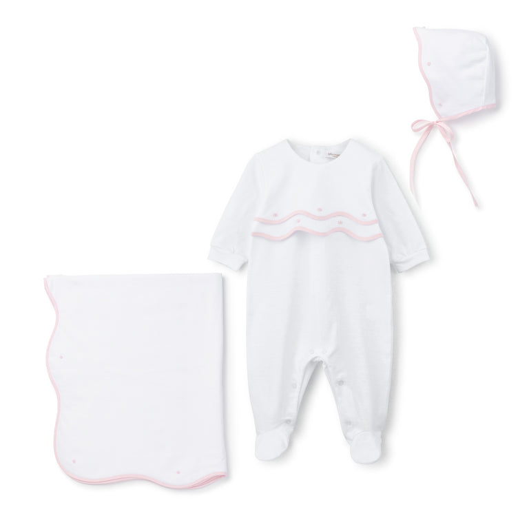 Light Pink Scalloped Trim Cotton Footie