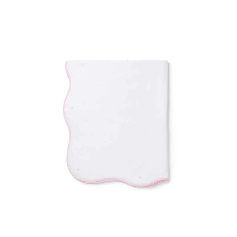 Light Pink Scalloped Trim Cotton Blanket