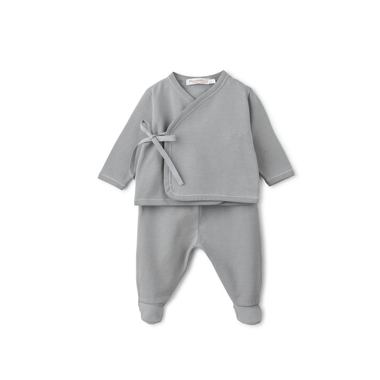Grey Cotton Side Tie 2 Piece Set