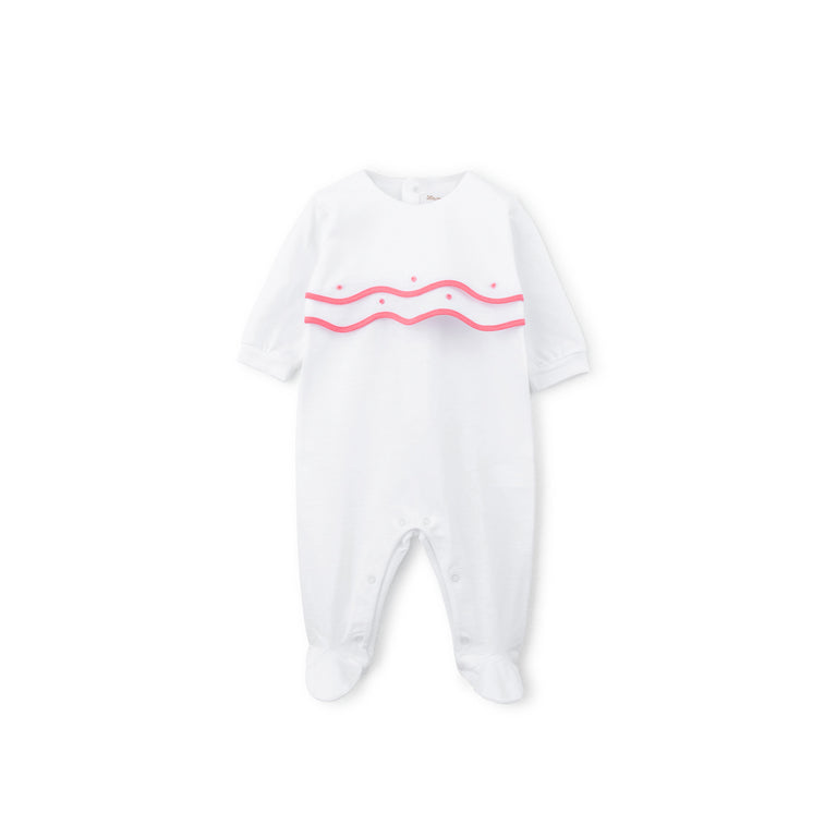 Pink Scalloped Trim Cotton 3 Piece Layette Set