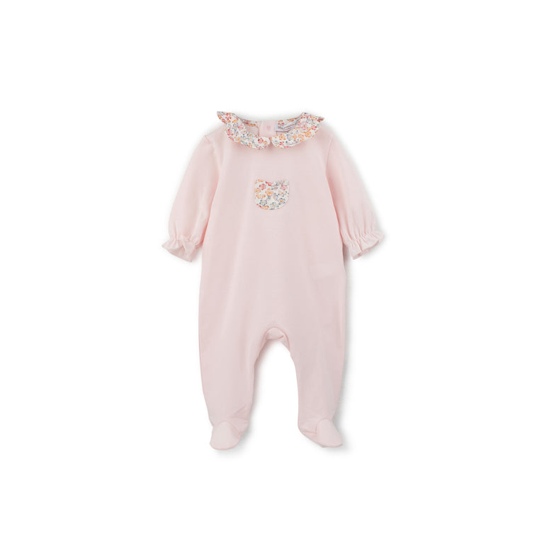Rose Pink Floral Ruffle 3 Piece Layette Set