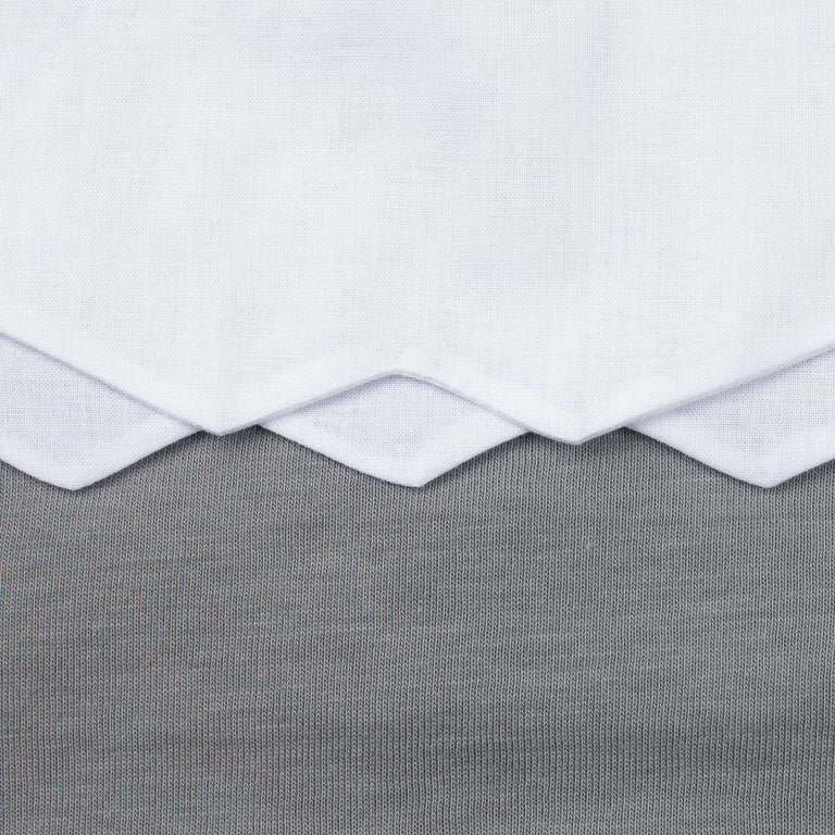 Grey Scalloped Cotton Footie