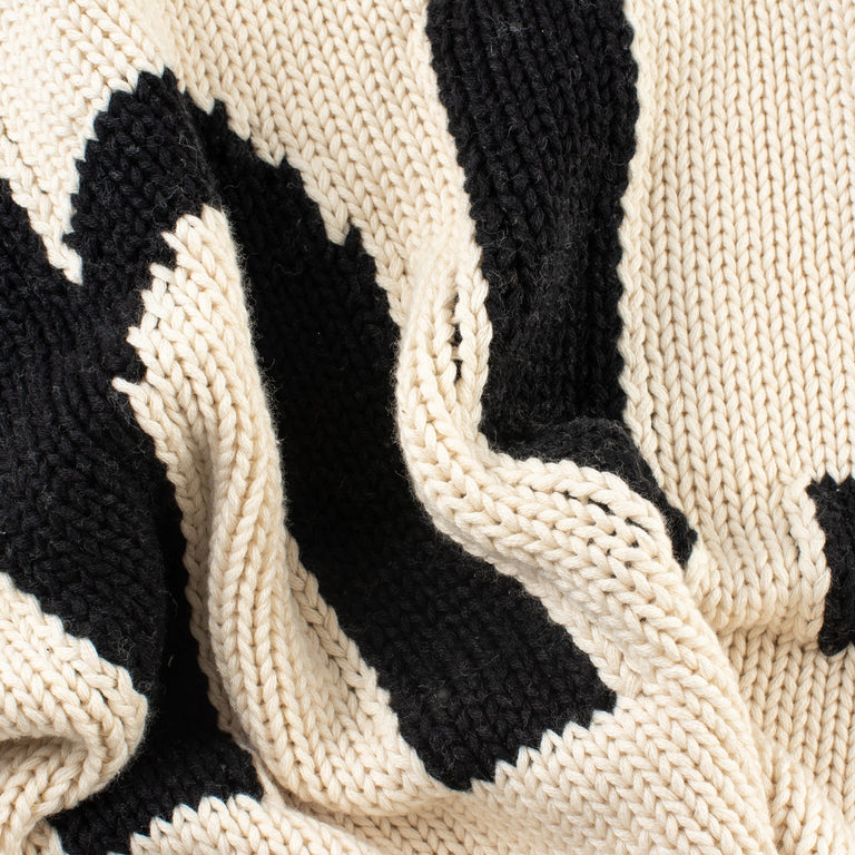 "Chunky Knit Cotton ""hi"" Hand Knit Blanket"