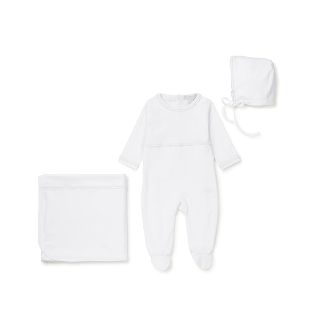 White Lace Trimmed Cotton 3 Piece Layette Set