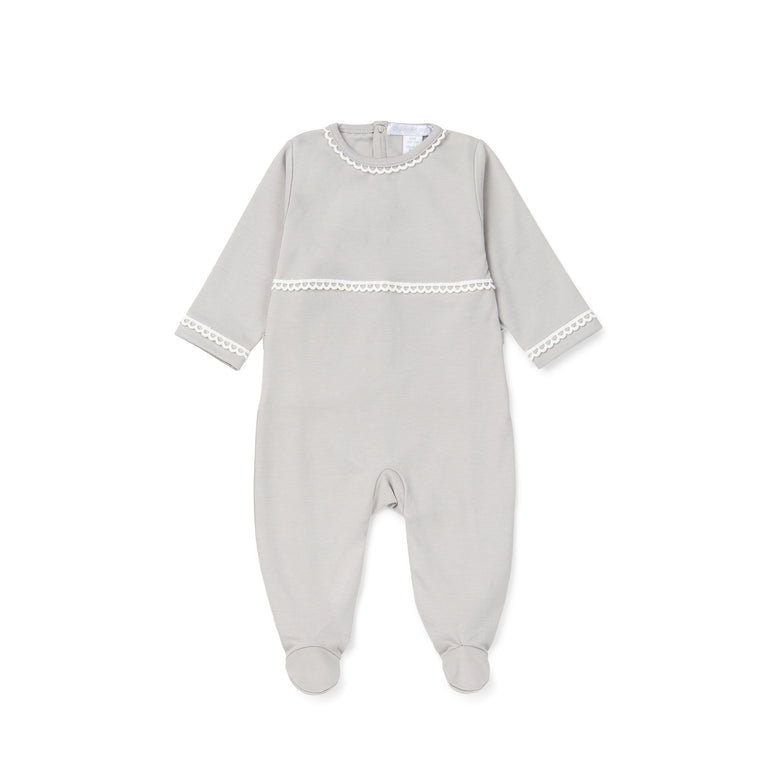 Grey Lace Trimmed Cotton 3 Piece Layette Set