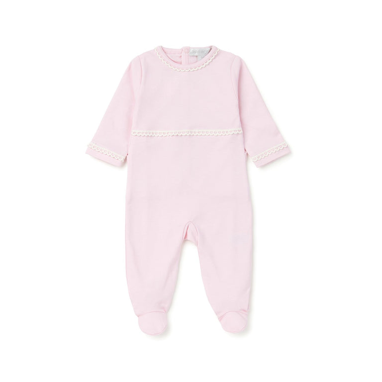 Pink Lace Trim Cotton Footie
