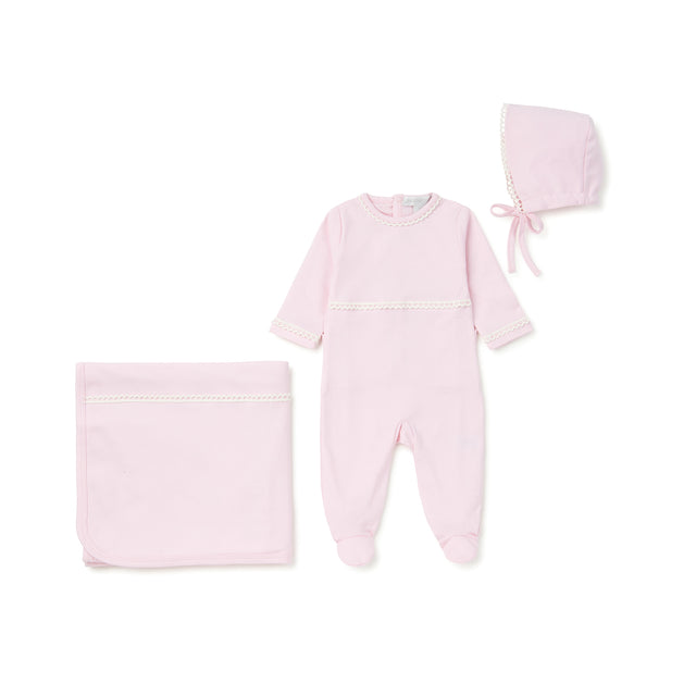 Pink Lace Trimmed Cotton 3 Piece Layette Set