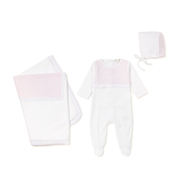 White With Pink Knit 3 Piece Layette Set