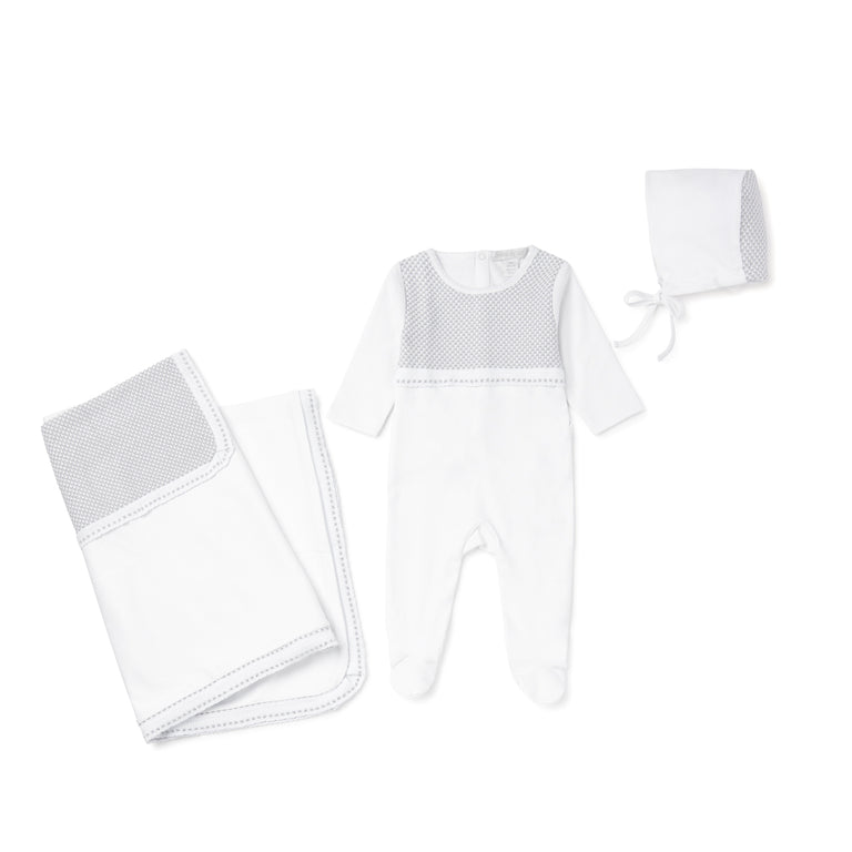 White With Grey Knit 3 Piece Layette Set