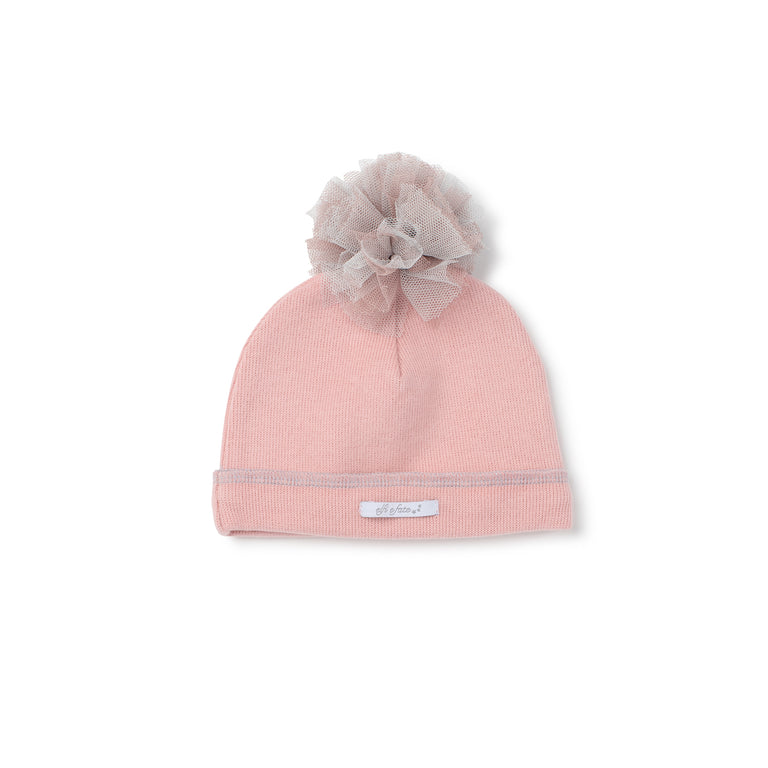 Pink Organic Tulle  Pompom Hat