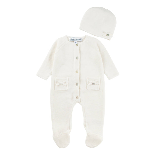 Cream Knitted Newborn Outfit and Hat Set