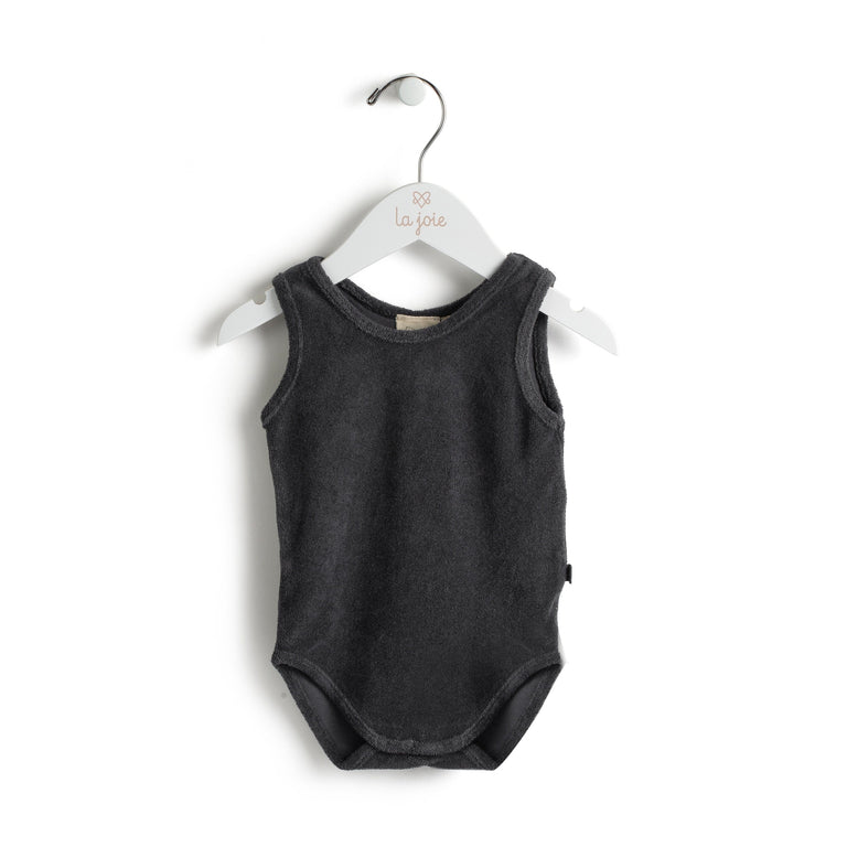 Charcoal Terry Romper