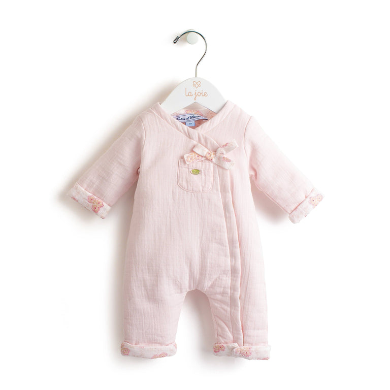 Pale Pink Wrap-Over Long Romper Suit