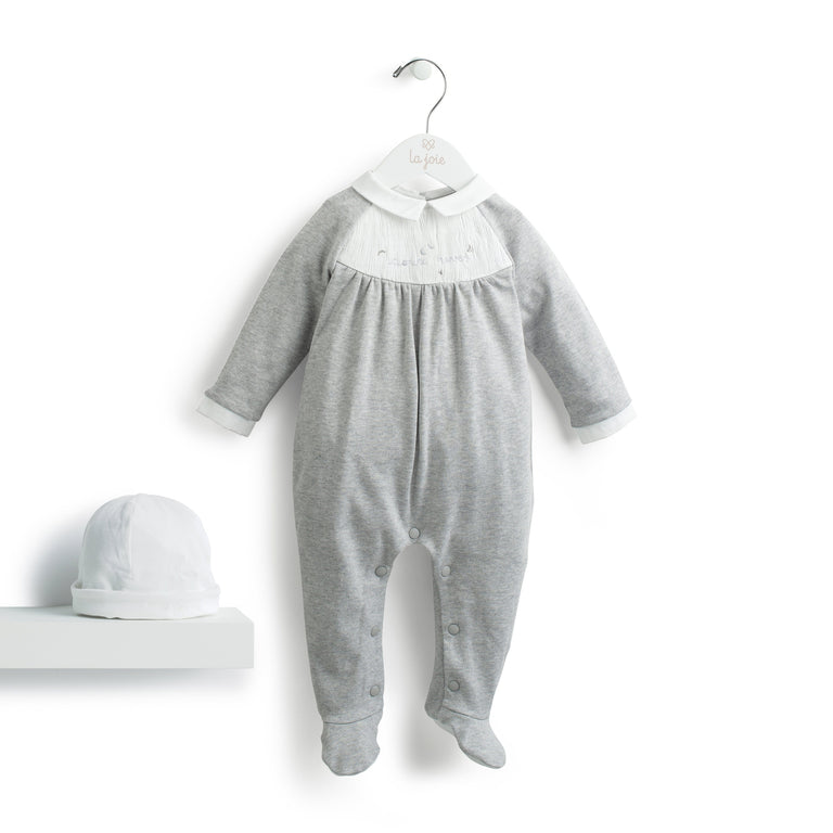"Grey Marl Smocked ""Doux rêves"" Footie"