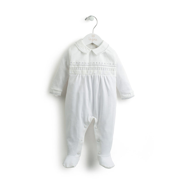 White Embroidered Emerised Cotton Footie