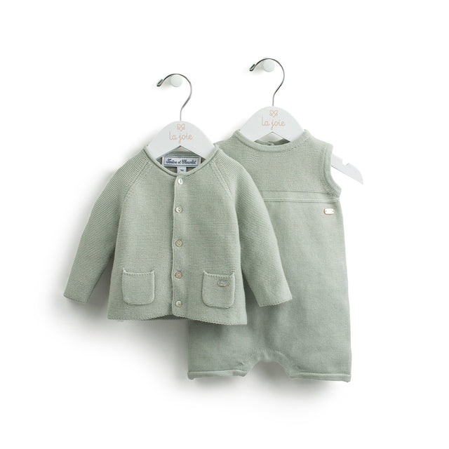 Almond Green Knitted Cardigan And Romper Set
