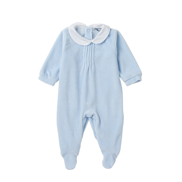 Blue Peter Pan Collar Velour Footie