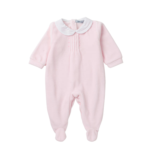 Pink Peter Pan Collar Velour Footie