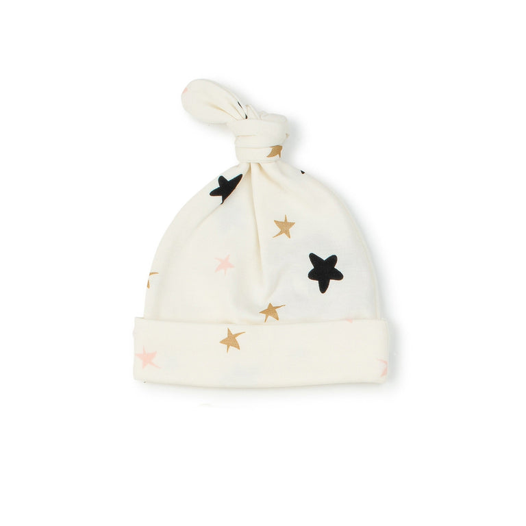 Cream Stars Knot Hat
