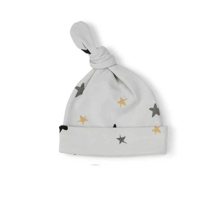 Grey Colored Stars Knot Hat