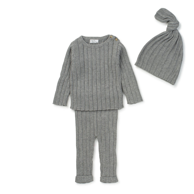 Grey Ribbed Knit 2 Piece Set