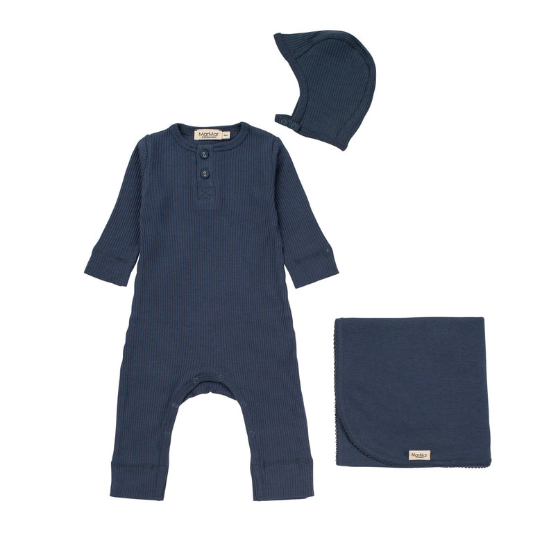 Blue Modal Ribbed Coverall
