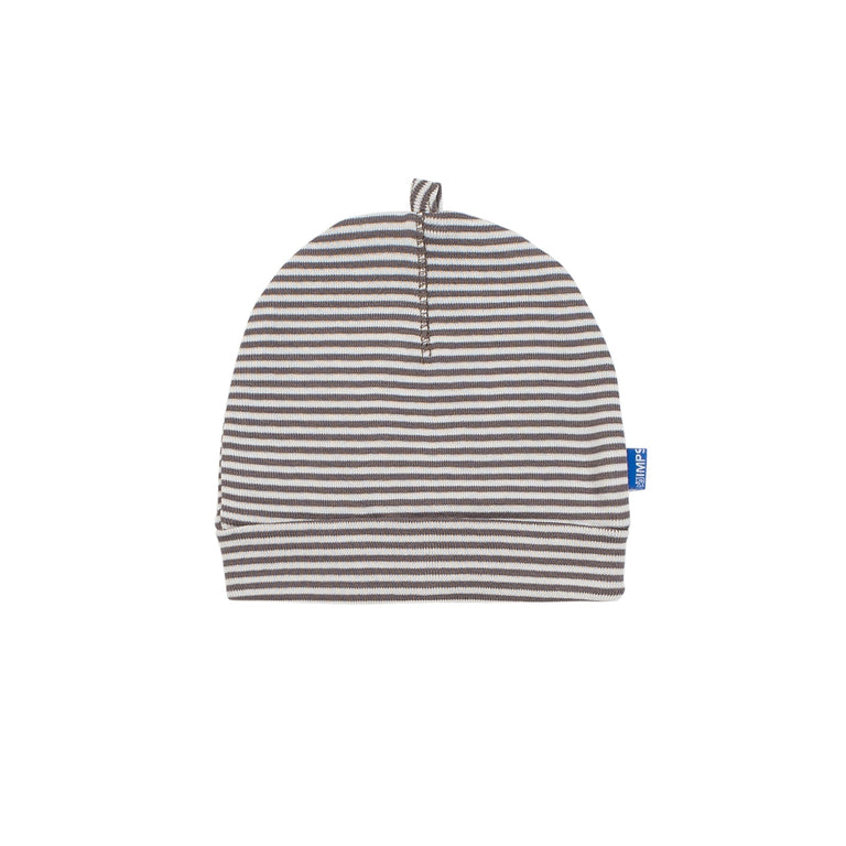 Stone And Off White Striped Hat