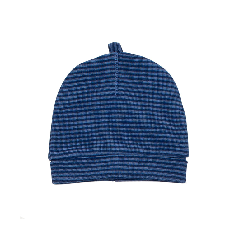 Steel Blue Striped Cotton Hat