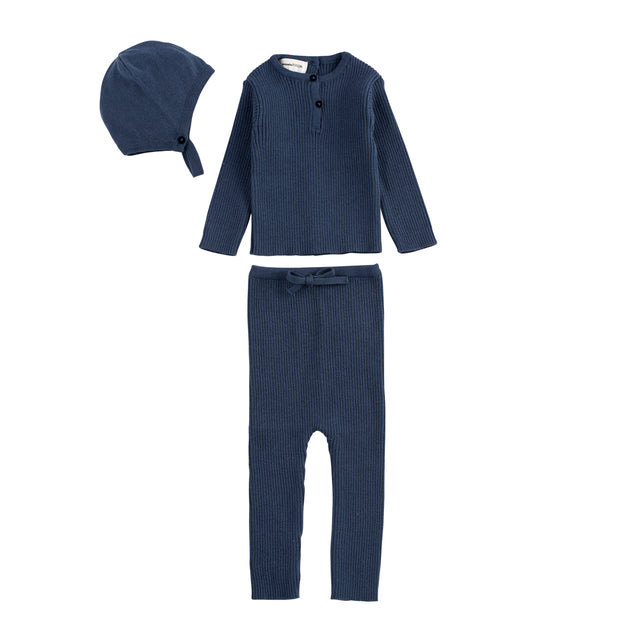 Blue Ribbed Knit 3 Piece Set
