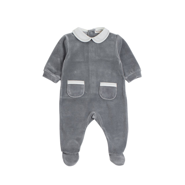 Grey Velour Stitched Collar Footie