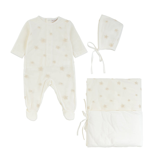 Ivory Velour Embroidered Tulle 3 Piece Layette Set