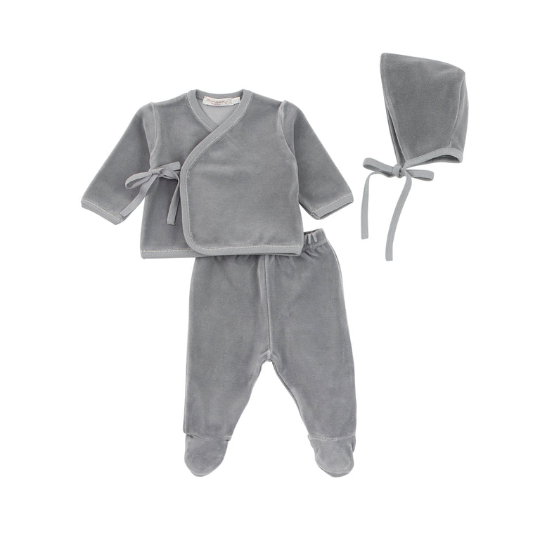 Grey Velour Wrap Outfit and Bonnet Set
