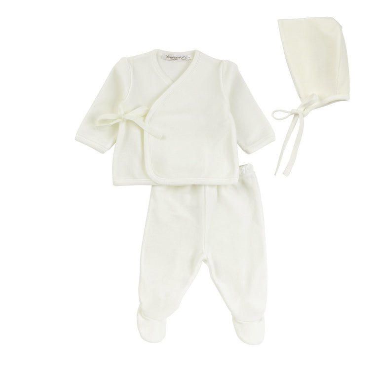 Ivory Velour Wrap Outfit and Bonnet Set