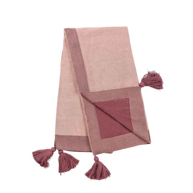 Pink & Rose Transfer Knit Tassels Blanket
