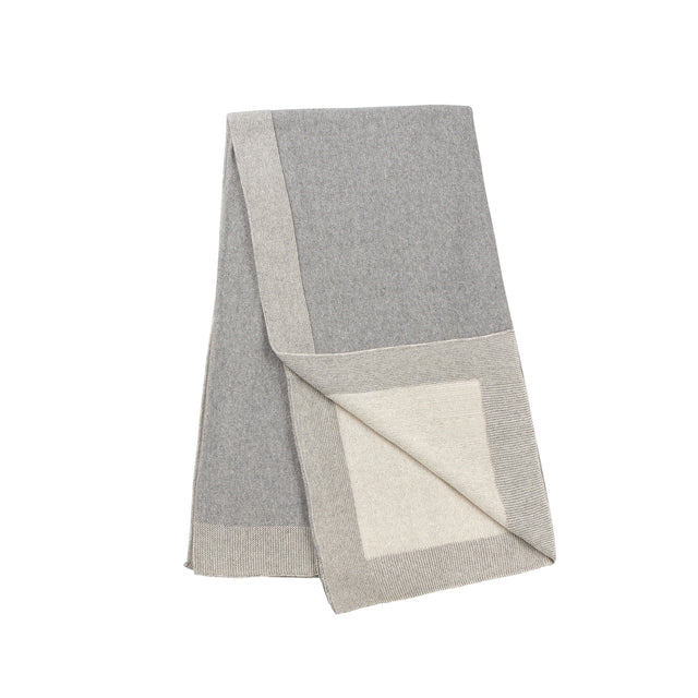 Light Grey Mel & Natural Transfer Knit Blanket