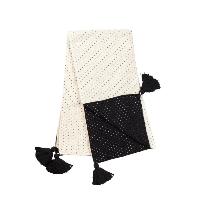 Natural With Black Dots Tassel Blanket