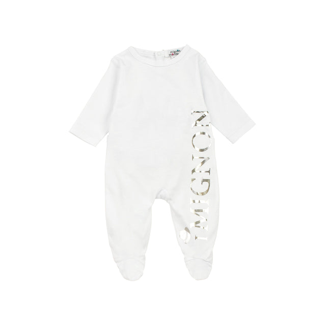 White With Silver Print Cotton Footie