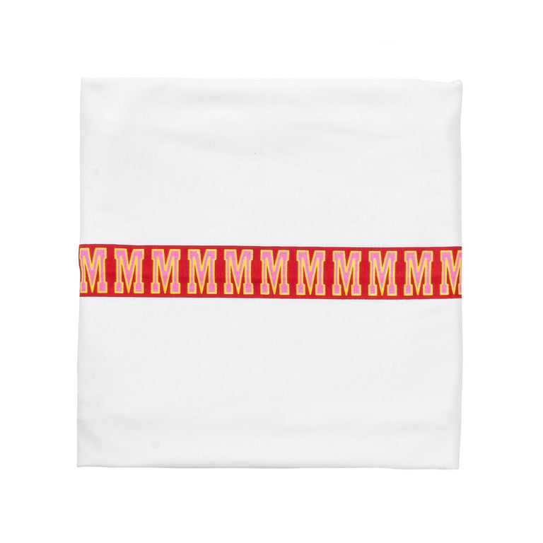 White With Red Center Stripe Cotton Blanket