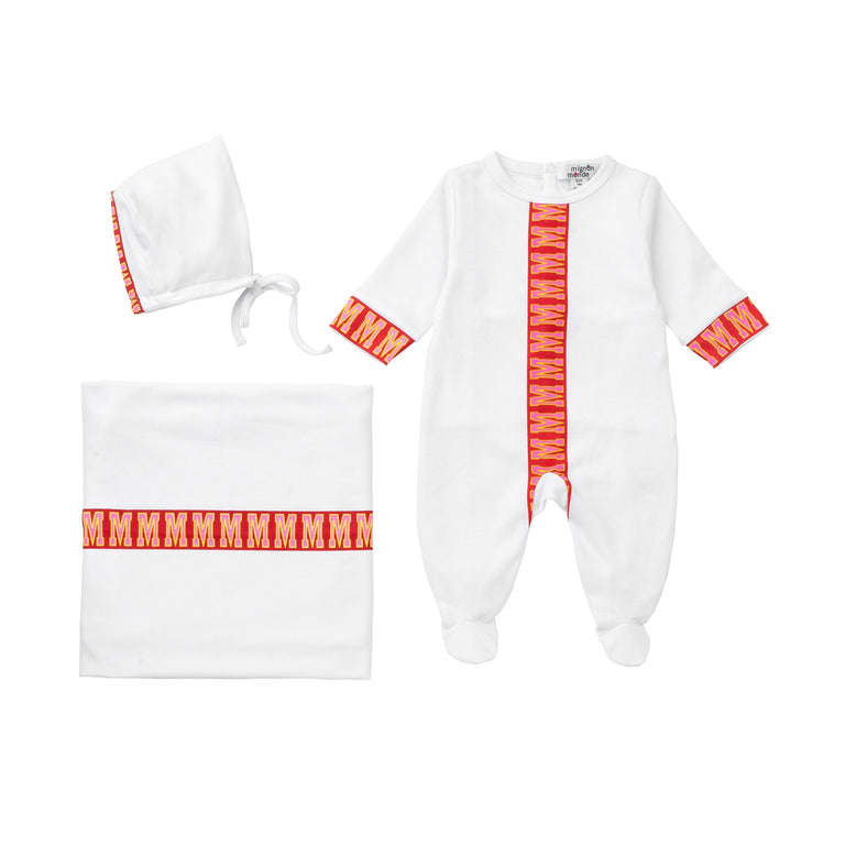 White With Red Center Stripe Cotton Footie