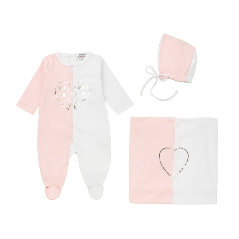 White And Pink Mama's Love Cotton Footie