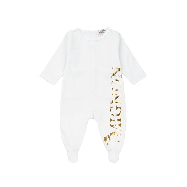 White With Gold Print Cotton Footie