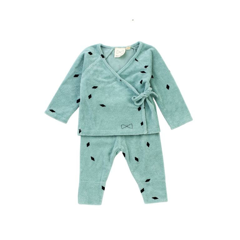 Green Tea Diamond Cotton Terry 2 Piece Set
